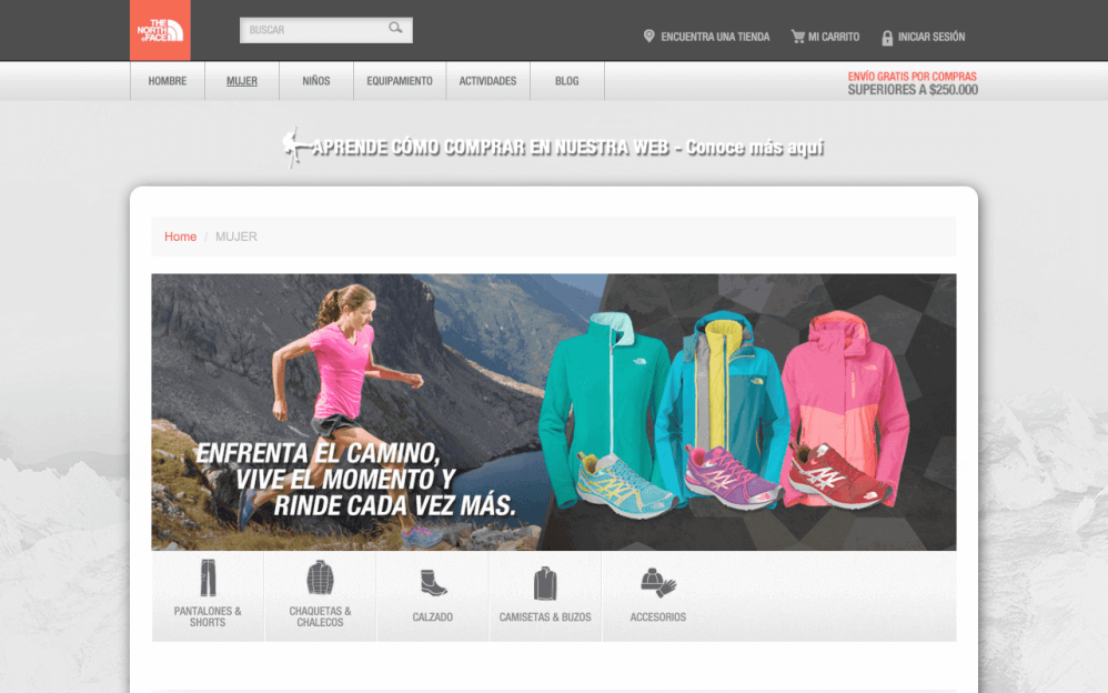 Sitio Web The North Face Colombia